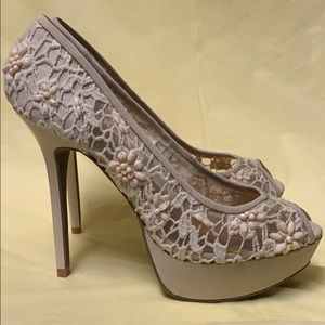 Shoes - Bead and mesh Stilettos